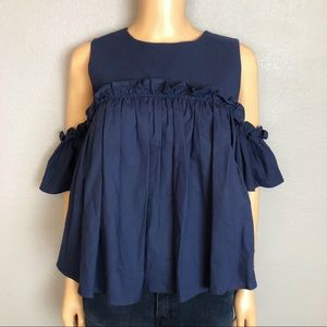 JOA Navy Swing Top Cold Shoulder Ruffle Blouse